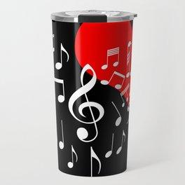 Singing Heart White On Black Travel Mug