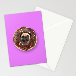 Pug Chocolate Donut Stationery Cards
