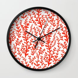 Red and White Floral Gouache Pattern Wall Clock