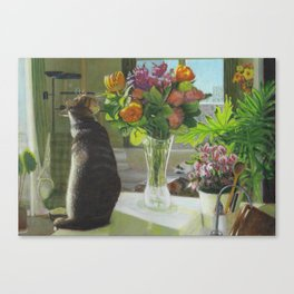 Shima & Flowers Canvas Print