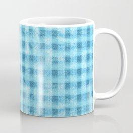 Aqua Blue Velvety Gingham Plaid Texture Coffee Mug