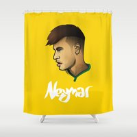 brazil Shower Curtains featuring Neymar Brazil by Dave Flanagan