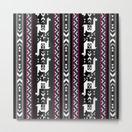 Llamas_Fuchsia stripes Metal Print