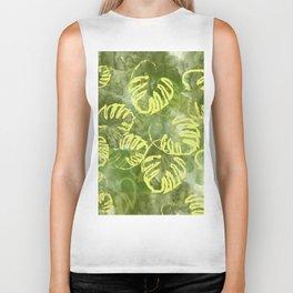 oil green palm leaves pattern Biker Tank