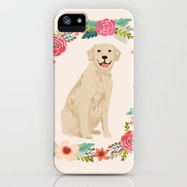 golden retriever dog floral wreath dog gifts pet portraits iPhone Case