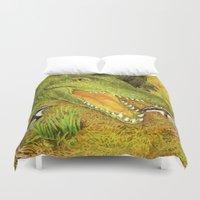 crocodile Duvet Covers featuring Crocodile by Natalie Berman