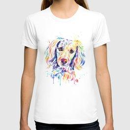 Colourful Pup Watercolor Pet Portrait Painting T-shirt