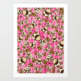 Cute Cow Girl Pattern Art Print