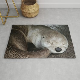 Sleeping Otter in a Log Rug