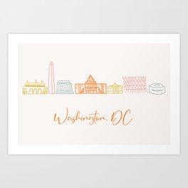 Washington DC Skyline Sketch Script Orange Art Print