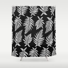 Inked Ferns – White Ink on Black Shower Curtain