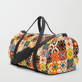 Maroccan tiles pattern with red an blue no2 Duffle Bag