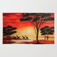 african Area & Throw Rugs featuring African sunset by maggs326