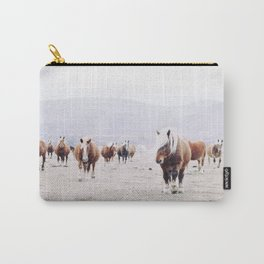 The wild horses in the winter landscape with white snow vintage illustration Carry-All Pouch