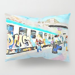 Travel by train from Teramo to Rome: people get off the trains stopped at the station Pillow Sham