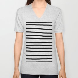 Simply Drawn Stripes in Midnight Black Unisex V-Neck