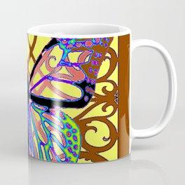 ITALIAN STYLE BROWN-YELLOW BUTTERFLY FILIGREE Coffee Mug