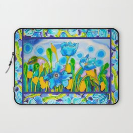 Blue Poppies 1 with Border Laptop Sleeve