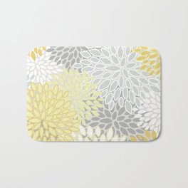 Floral Prints, Soft, Yellow and Gray, Modern Print Art Bath Mat