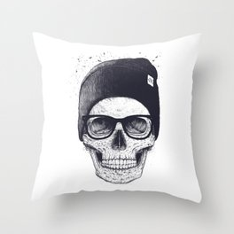 Grey Skull in a hat Throw Pillow