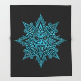 Ancient Blue and Black Aztec Sun Mask Throw Blanket