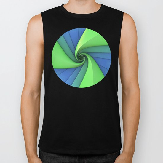 Spiral in Blues and Greens Biker Tank