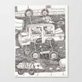 "Carretera de coches con esqueletos ""Santa Muerte"" Canvas Print"