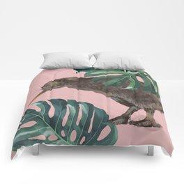 Kiwi Bird with Monstera in Pink Comforters