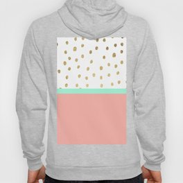 Coral teal color block faux gold foil polka dots pattern Hoody