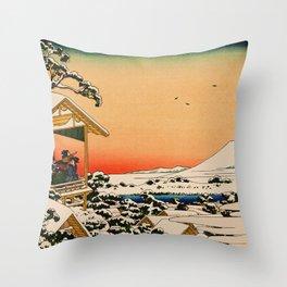 Snow at Koishikawa - Vintage Japanese Art Throw Pillow