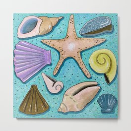 Seashell Beach Blue Nautical Art Print Metal Print