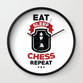 Eat Sleep Chess Repeat Wall Clock