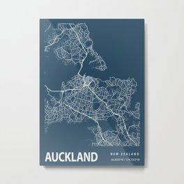 Auckland Blueprint Street Map, Auckland Colour Map Prints Metal Print