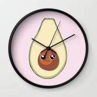 avocado Wall Clocks featuring Avocado by GarethAdamson