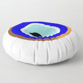 Grecian Gold evil eye in blue on white Floor Pillow