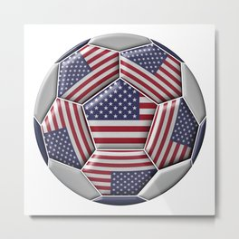 Soccer ball with United States flag Metal Print