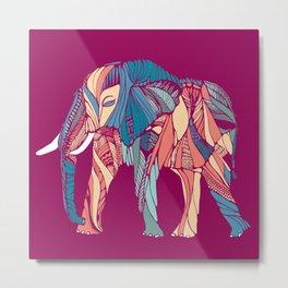 Elephant on Pink Metal Print