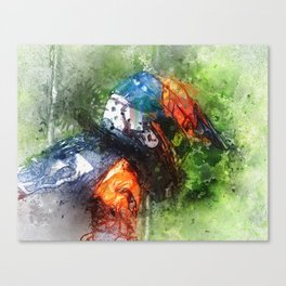 The Starting Gate - Motocross Champion Rider Prepares to Race Canvas Print