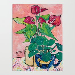Houseplant Still Life Painting with Cheetah, Pilea, and Anthurium  Poster