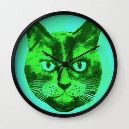 green head cat Wall Clock