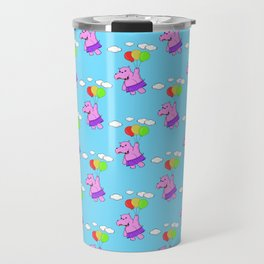 Pink Hippo Flying With Balloons In Blue Sky Travel Mug