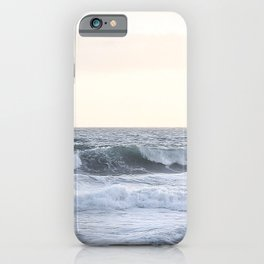 Sea Waves Modern and Vintage Beach Aesthetic Photography of Artsy Light Yellow Pink Sky iPhone Case