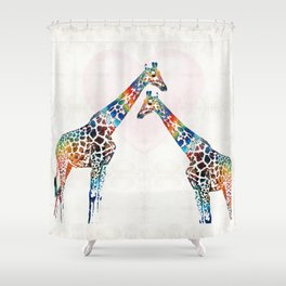 Colorful Giraffe Art - I've Got Your Back - By Sharon Cummings Shower Curtain