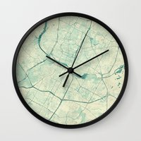 austin Wall Clocks featuring Austin Map Blue Vintage by City Art Posters