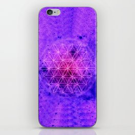 Flower of life Purple and Blue iPhone Skin