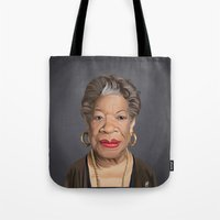 celebrity Tote Bags featuring Celebrity Sunday ~ Maya Angelou by rob art   illustration