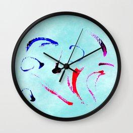Extreme Aqua Brush Strokes Wall Clock