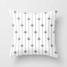 White and Black Geometric Floral Pattern Throw Pillow