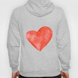 Red Watercolor Heart Hoody