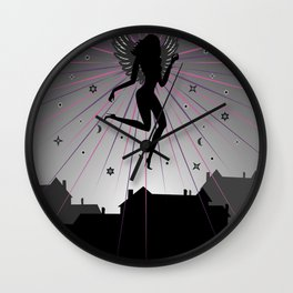 Dark angel soaring over houses Wall Clock